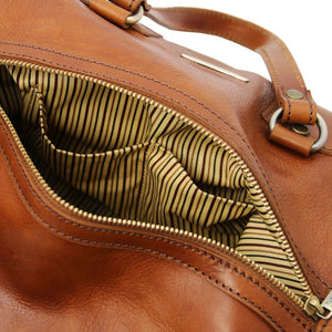 Internal Pocket View Of The Honey Leather Ladies Duffle Bag