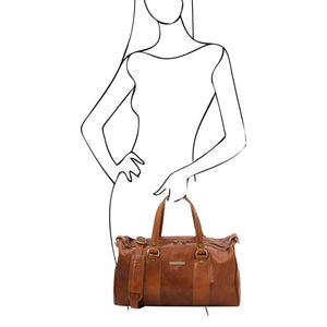 Women Posing With The Honey Leather Ladies Duffle Bag