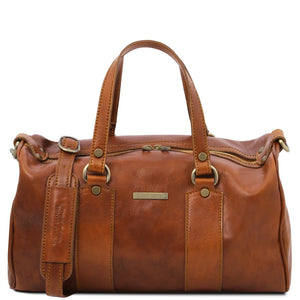 Front View Of The Honey Leather Ladies Duffle Bag