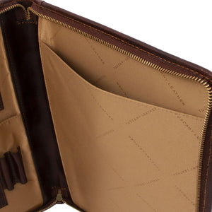 Internal Compartment View Of The Brown Leather A4 Compendium