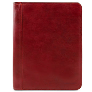 Front View Of The Red Leather A4 Compendium