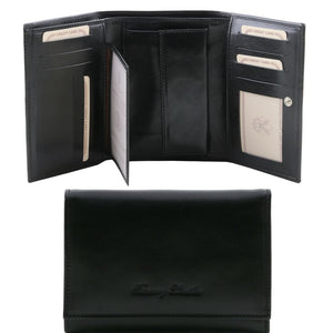 Internal And Frontal View Of The Black Leather Women's Wallet