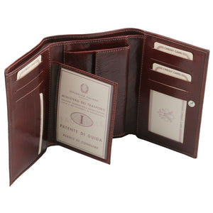 Credit Card Slots View Of The Brown Leather Women's Wallet
