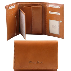 Internal And Frontal View Of The Honey Leather Women's Wallet