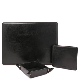Front View Of The Black Luxury Leather Desk Set