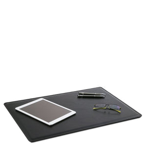 Desk Pad Mouse Pad View With Glasses iPad And Pens, Part Of The Black Luxury Leather Desk Set