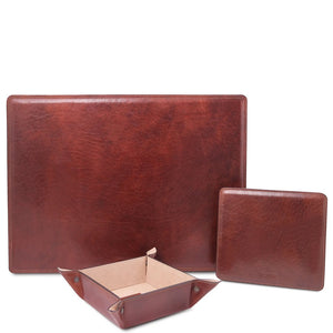 Front View Of The Brown Luxury Leather Desk Set