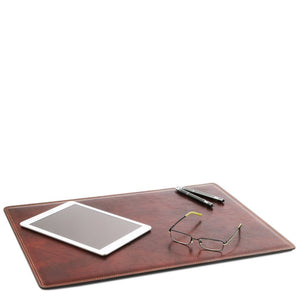 Desk Pad Mouse Pad View With Glasses iPad And Pens, Part Of The Brown Luxury Leather Desk Set