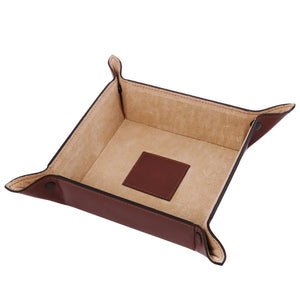 Top View Of The Large Tidy Tray Part Of, The Brown Luxury Leather Desk Set