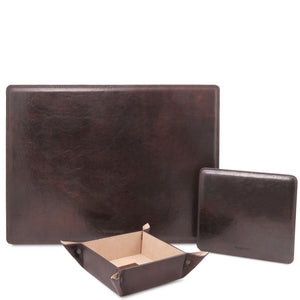 Front View Of The Dark Brown Luxury Leather Desk Set