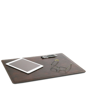 Desk Pad Mouse Pad View With Glasses iPad And Pens, Part Of The Dark Brown Luxury Leather Desk Set