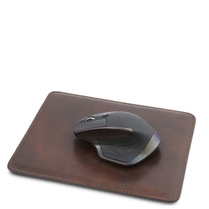 Mouse Pad With Mouse View, Part Of The Dark Brown Luxury Leather Desk Set