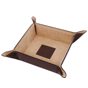 Top View Of The Large Tidy Tray Part Of, The Dark Brown Luxury Leather Desk Set