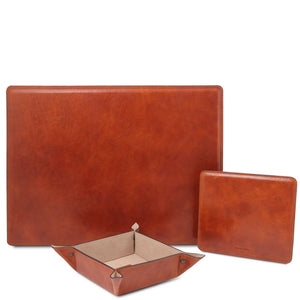 Front View Of The Honey Luxury Leather Desk Set