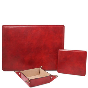 Front View Of The Red Luxury Leather Desk Set