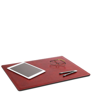 Desk Pad Mouse Pad View With Glasses iPad And Pens, Part Of The Red Luxury Leather Desk Set