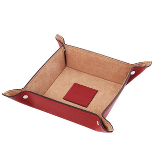 Top View Of The Large Tidy Tray Part Of, The Red Luxury Leather Desk Set