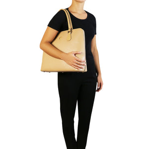 Woman Posing With The Champagne Womens Leather Business Bag