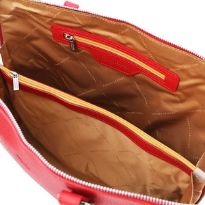 Internal Zip Pocket View Of The Lipstick Red Womens Leather Business Bag