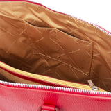Internal Pockets View Of The Lipstick Red Womens Leather Business Bag