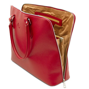Internal Compartments View Of The Lipstick Red Womens Leather Business Bag