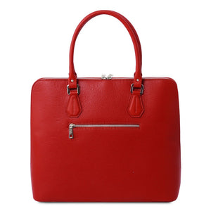 Rear View Of The Lipstick Red Womens Leather Business Bag