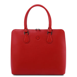 Front View Of The Lipstick Red Womens Leather Business Bag