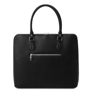 Rear View Of The Black Womens Leather Business Bag