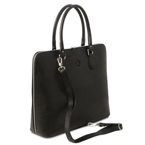 Angled And Shoulder Strap View Of The Black Womens Leather Business Bag