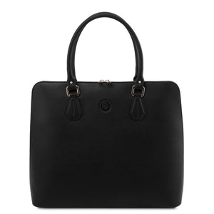 Front View Of The Black Womens Leather Business Bag