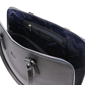 Internal Zip Pocket View Of The Black Womens Leather Business Bag
