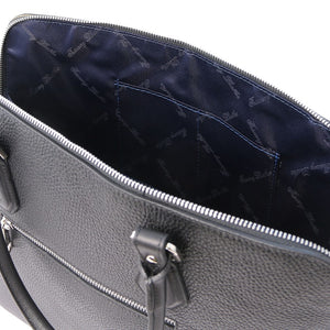 Internal Pockets View Of The Black Womens Leather Business Bag
