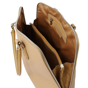 Internal Compartments View Of The Champagne Womens Leather Business Bag