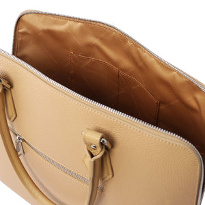 Internal Pockets View Of The Champagne Womens Leather Business Bag