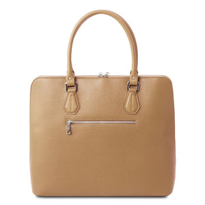 Rear View Of The Champagne Womens Leather Business Bag
