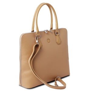 Angled And Shoulder Strap View Of The Champagne Womens Leather Business Bag