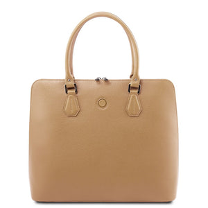 Front View Of The Champagne Womens Leather Business Bag