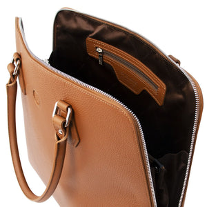 Internal Zip Pocket View Of The Cognac Womens Leather Business Bag