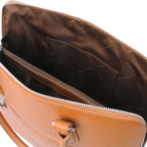 Internal Pockets View Of The Cognac Womens Leather Business Bag