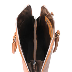 Internal Compartments View Of The Cognac Womens Leather Business Bag