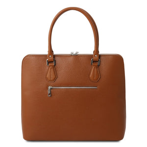 Rear View Of The Cognac Womens Leather Business Bag