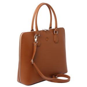 Angled And Shoulder Strap View Of The Cognac Womens Leather Business Bag