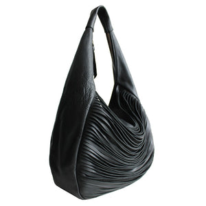 Left Angled View Of The Black Ladies Leather Shoulder Bag
