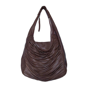 Front View Of The Brown Ladies Leather Shoulder Bag