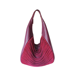 Front View Of The Burgundy Ladies Leather Shoulder Bag