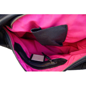 Internal View Of The Black Ladies Leather Shoulder Bag