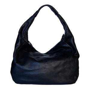 Rear View Of The Black Ladies Leather Shoulder Bag