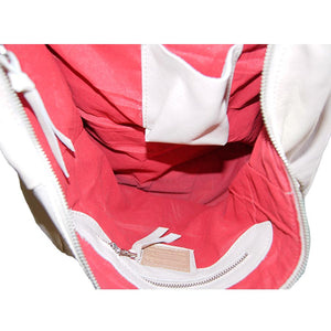 Internal View Of The Champagne Pink Ladies Leather Shoulder Bag