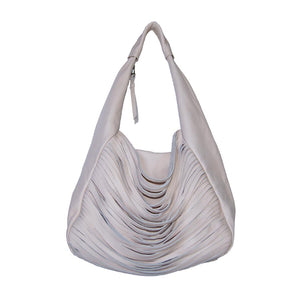 Front View Of The Champagne Pink Ladies Leather Shoulder Bag