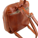 Rear Zip Pocket And Shoulder Straps View Of The Honey Genuine Leather Backpack
